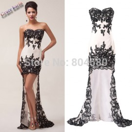 s/lot special occassion dresses Strapless High-Low Chiffon Lace Evening dress   Fashion CL6044