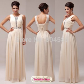 Stock Elegant Beaded Women Chiffon evening dress formal prom dresses Long party gown CL6019