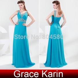 Cheap Beaded Deep V Neck Chiffon Celebrity Dresses Long Evening dress Gown  CL4419