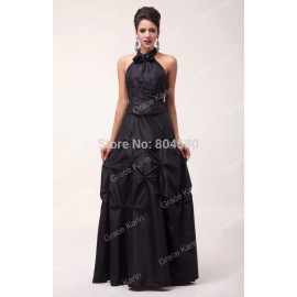 GK Fashion Floor-Length Halter Backless Formal Evening Dress Black Party Dresses CL6074