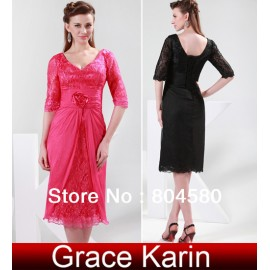 GK Stock Half Sleeve Lace + Chiffon Ball Evening Prom Party Dress Mother of the Bride Dress 8 Size US 2~16 CL4363
