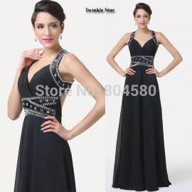 Grace Karin Elegant Black Sexy V neck Backless Long Party Evening dress  Formal Prom Dresses Gown CL6279