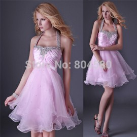 Grace Karin Fashion Design Halter Evening Party Gown Short Prom dress Formal Homecoming dresses Plus Size CL3521