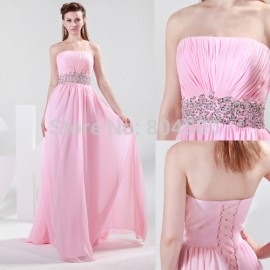 Grace Karin Stock Cheap Strapless Chiffon Evening Dress Long Design Formal Occasion Women Prom party Gown CL4423