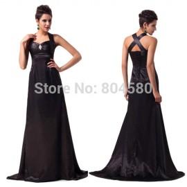 Grace Karin Stock Cross back Satin Formal Black Evening Dress Long Prom Party Celebrity Dresses CL6056