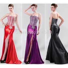Grace Karin Stock Split front Women Sexy Bandage dress Party Evening Dresses  lace up back CL4421