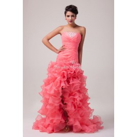 Grace Karin Stock Strapless Organza mermaid Party dresses Trumpet Prom Gown Formal evening dress long CL6072