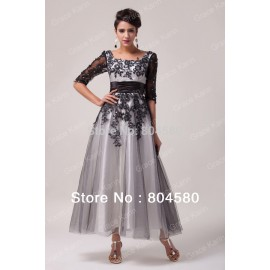 In Stock Half Sleeve Lace & Tulle Ball Gown Evening Prom Party Dress Long Quinceanera Dreses 8 Size US 2~16 CL6051