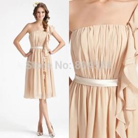 One Shoulder Chiffon Prom dress Elegant Evening Party Gown Women Short Formal Banquet dresses Knee Length  CL3441