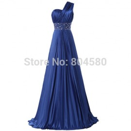 Stock One Shoulder Satin Formal Gown Fashion Evening Ball Party Long Dress CL6021