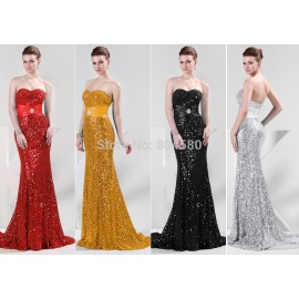 Stock Strapless Floor Length Bodycon Bandage Evening Dress Mermaid Prom dresses with Sequins CL4409