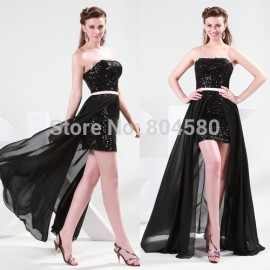 Stock Strapless Knee Length Bandage dress Short Evening Party Gown with Sequined Black Women Prom dresses CL4408