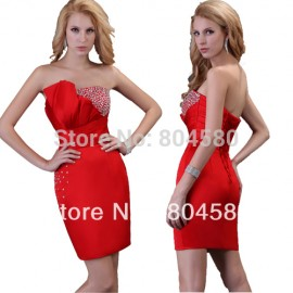 s/lot Grace Karin Sexy Strapless Satin column Prom Red Party  dresses,Cocktail Dress   CL3823