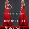 Grace Karin Stock Satin Long Prom Gowns Floor Length Strapless Red Ball Party Evening Dress  8 Size CL3421