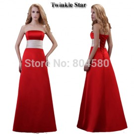 Grace Karin Stock Satin Long Prom Gowns Floor Length Strapless Red Ball  Party Evening Dress 8 0de528a8e30f