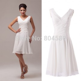s/lot  Formal Lady Dress Knee-Length Short Bridesmaid dresses White Chiffon Party Gown CL6059
