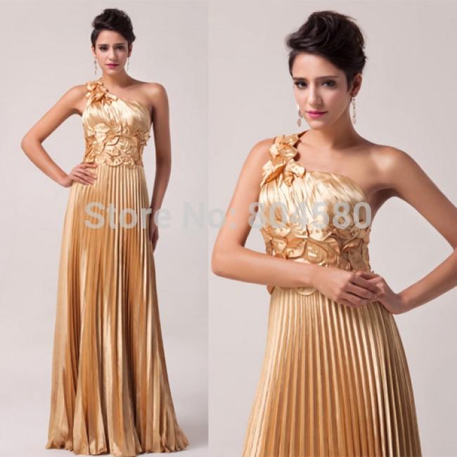 Fashion women's One Shoulder Golden Satin Formal Evening Dress Designer Long Prom Dresses CL6033