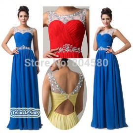 Sleeveless Backless Chiffon Red Carpet Celebrity inspired dresses Formal Prom Gown Long Evening dress CL6115 (AL12)