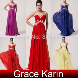 Strapless Sweetheart Floor Length Chiffon Prom Gown fashion Celebrity dress Long Dresses Evening Party Ball CL6003