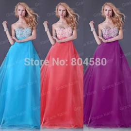 Fashion Beaded Long Prom Gown Dinner Party dresses Formal Evening Dress 8 Sizes CL3107