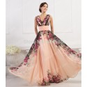 Fashion Women Deep V Neck Flower Pattern Chiffon Party Dress Long Prom Gown Formal Evening dresses CL7502