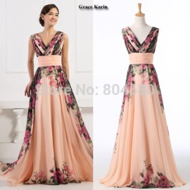 Fashion Women Deep V Neck Flower Pattern Chiffon Party Dress Long Prom Gown  Formal Evening dresses aaf5154b814b