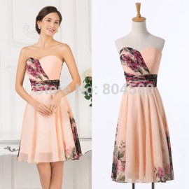 Sexy Women Floral Print dress Runway Vintage Party Gown Short Pattern Evening Prom dresses Formal CL7501