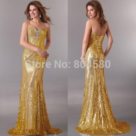 Grace karin Gold / Silver / Red sequins sheath dress Long bodycon Bandage Party dresses Formal Evening Gown CL2531