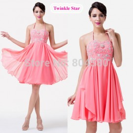 Hater Knee Length Hot Women Beaded Party Gown Short Pink Cocktail dresses for Homecoming CL6253