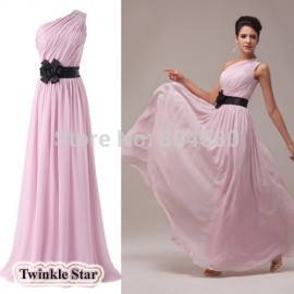 One Shoulder Strapless Long Chiffon Celebrity Dresses Formal Evening Prom Party Dress  In Stock CL6016