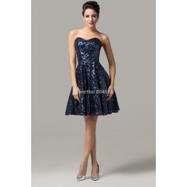Strapless Sequins Short-Length Lady Dress homecoming party dresses evening gowns Formal Prom dress CL6133 (AL12)