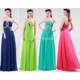 stock A-line sweetheart elegant off-shoulder Sleeveless Formal Party Gowns Chiffon long evening dress CL4413