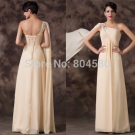 Grace Karin    One Shoulder Chiffon Long Formal Prom Party Dress women evening gown with sequins CL6212