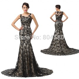 Grace Karin   Sleeveless Mother of the Bride dress Floor length Black Bandage dresses Mermaid Evening Gown CL6140