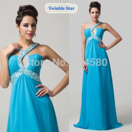 Grace Karin Blue Backless Chiffon Celebrity Prom Long dress Sexy Formal Party Gown Women Evening dresses for Homecoming CL6153