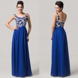 Grace Karin Cheap Prom Long Dress Lace applique Floor length Blue Chiffon Formal Party Gown Sexy Women Evening dresses CL6148