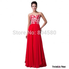 Grace Karin Chinese Style Red Appliques Women Evening Party dress Floor Length Long Chiffon Sweetheart Prom dresses CL6175