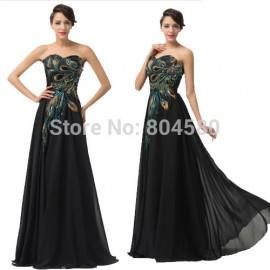 Grace Karin Fashion  Summer Autumn Peacock Black Evening Dresses Women Fashion Long Chiffon Maxi Party Prom Gowns CL6168