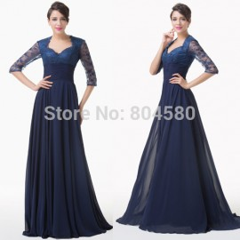 Grace Karin Floor Length Half Sleeve Evening dress   Lace Applique Long prom dresses Formal Special Party Gown CL6234
