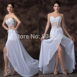 Grace Karin Floor Length White Chiffon Bandage dresses  Sleeveless Sexy See Through Evening dress Party Gown Long CL6264
