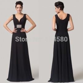 Grace Karin Floor length Deep V-Neck Black Special Occasion Dresses Formal Celebrity dress Long evening gowns CL6159