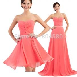Grace Karin Formal Occasion Long Evening dress Ball Empire Waist Short Prom dresses  Women Summer Chiffon Party Gown CL62978