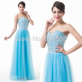 Grace Karin High quality  Strapless Tulle Ball Gown Floor Length Sexy Party dresses Formal Evening dress women Blue CL6255