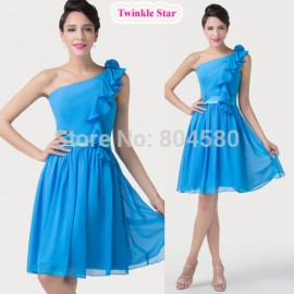 Grace Karin Knee Length Blue Chiffon One Shoulder Party Gown Short Evening Prom dresses  CL6217