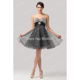 Grace Karin Knee length Off shoulder Tulle Party dresses Short Evening Dress women Prom gowns Elegant vestido de festa CL6139