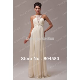 Grace Karin  Stock Halter Cheap Design Long Prom Party Gown Chiffon Women Evening Dress    Formal Gowns CL6009