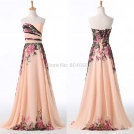 Grace Karin Off the Shoulder Floral Print Chiffon Celebrity dresses Long Prom dress Formal Evening Party Gown Flower CL7503