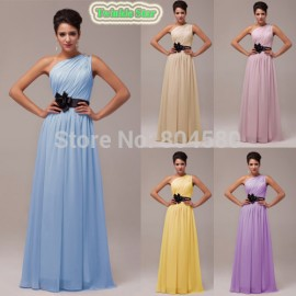 Grace Karin One Shoulder Long Chiffon Prom Celebrity Dresses Sleeveless Women Party Dress Formal Evening Gown  Stock CL6016