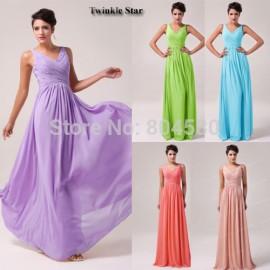 Grace Karin Purple Blue  Fashion Women Deep V Neck Chiffon Prom Gown Long Evening Party Dresses Formal Celebrity dress CL6010