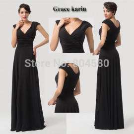 Grace Karin Sexy Deep V-Neck woman dance Black Prom Dress Long party Dresses Formal Evening Gowns CL6169